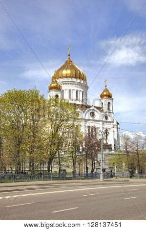 MOSCOW RUSSIA - May 02.2016: Recovered Orthodox Temple Cathedral of Christ the Savior in Moscow