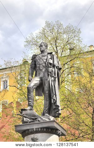 MOSCOW RUSSIA - May 02.2016: Monument to Russian Emperor Alexander I in the Alexander Garden near the Kremlin wall