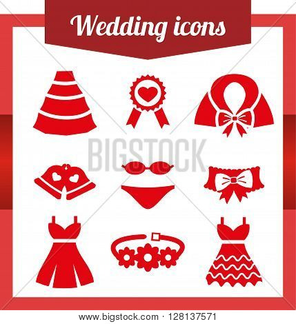 Set wedding icons. Bell Dress garter wedding underwear coat cloak sash belt medal Flat isolated on white background