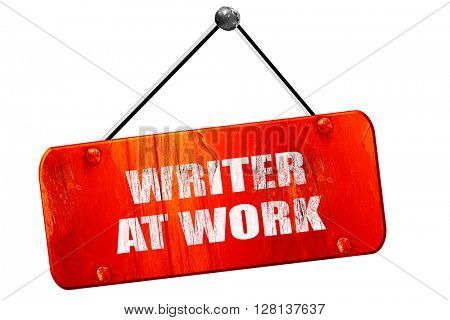 writer at work, 3D rendering, vintage old red sign