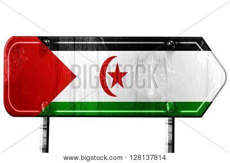 Western sahara flag, 3D rendering, road sign on white background
