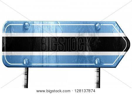 Botswana flag, 3D rendering, road sign on white background