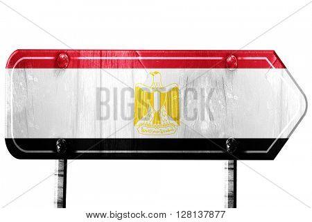 Egypt flag, 3D rendering, road sign on white background