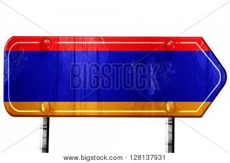 Armenia flag, 3D rendering, road sign on white background