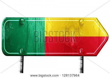 Benin flag, 3D rendering, road sign on white background