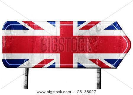 Great britain flag, 3D rendering, road sign on white background