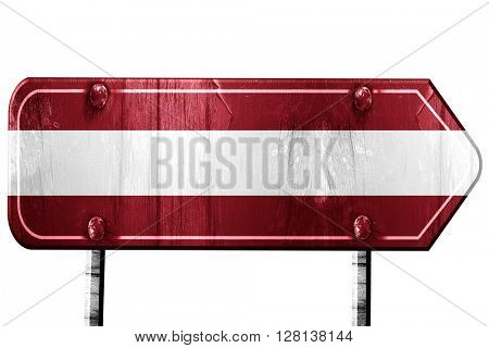 Latvia flag, 3D rendering, road sign on white background