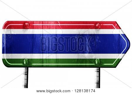 Gambia flag, 3D rendering, road sign on white background