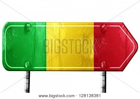 Mali flag, 3D rendering, road sign on white background