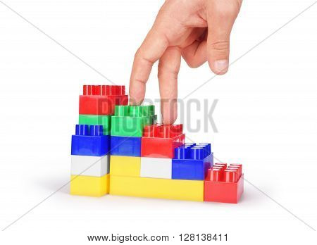 Hand and toy stairs isolated on white background