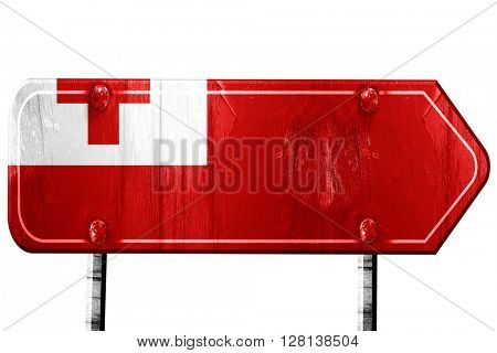 Tonga flag, 3D rendering, road sign on white background