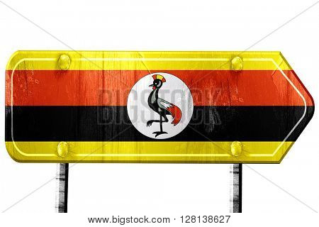 Uganda flag, 3D rendering, road sign on white background