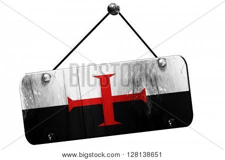 Templar knight flag, 3D rendering, grunge hanging vintage sign