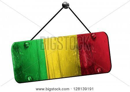 Mali flag, 3D rendering, vintage grunge hanging sign
