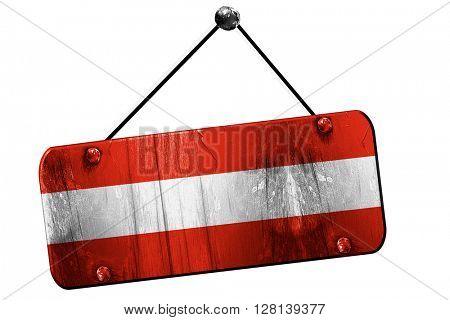 Austrian flag, 3D rendering, vintage grunge hanging sign