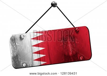 Bahrain flag, 3D rendering, vintage grunge hanging sign