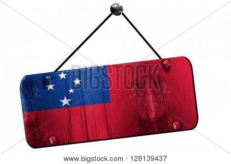 Samoa flag, 3D rendering, vintage grunge hanging sign