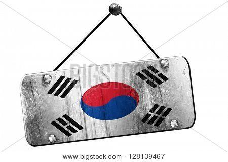 South korea flag, 3D rendering, vintage grunge hanging sign