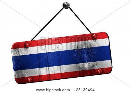 Thailand flag, 3D rendering, vintage grunge hanging sign