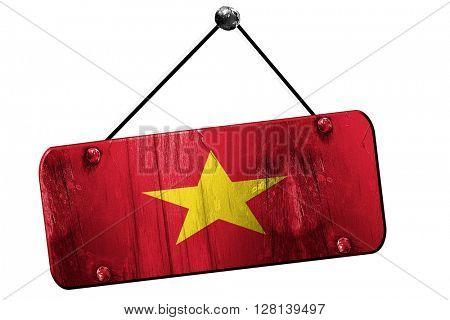 Vietnam flag, 3D rendering, vintage grunge hanging sign