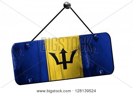 Barbados flag, 3D rendering, vintage grunge hanging sign