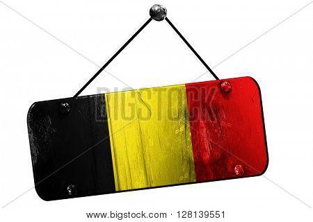 Belgium flag, 3D rendering, vintage grunge hanging sign