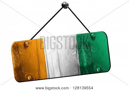 Ivory coast flag, 3D rendering, vintage grunge hanging sign