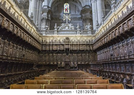 Jaen, Spain - may 2 2016a: The choir is one of the largest in Spain since it consists of 148 seats, the stalls are of Walnut wood, Jaen, Spain