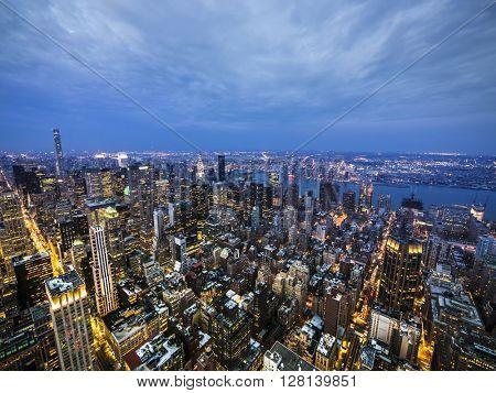 New York late sunset skyline