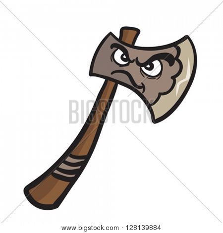 angry axe cartoon illustration isolated on white