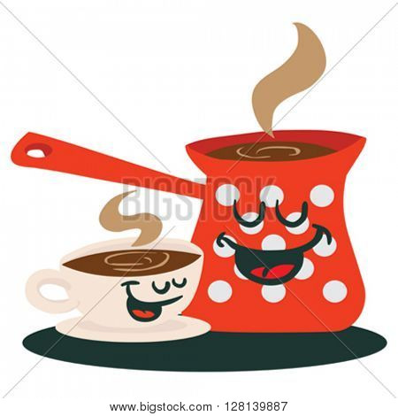 coffee pot and a cup talking cartoon illustration