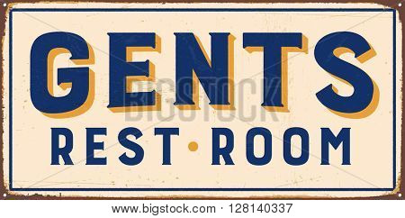 Vintage metal sign - Gents Rest Room - Vector EPS10. Grunge and rusty effects can be easily removed for a cleaner look.
