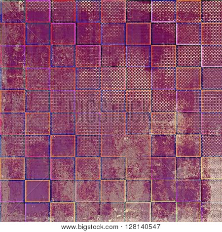 Geometric grunge retro composition, textured vintage background. With different color patterns: brown; blue; red (orange); purple (violet); pink