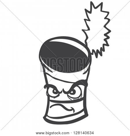 black and white angry empty can cartoon illustration