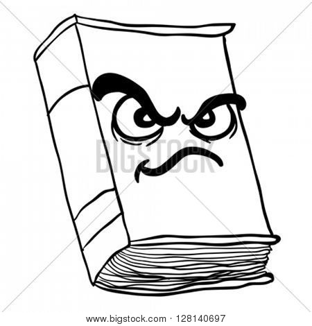 black and white angry old book cartoon illustration
