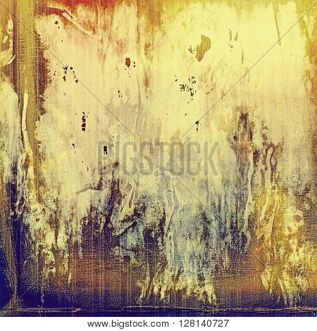Colorful vintage background, grunge texture with scratches, stains and different color patterns: yellow (beige); brown; gray; blue; red (orange)