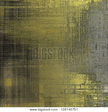 Abstract vintage background with grunge effects, ragged elements, and different color patterns: yellow (beige); brown; gray; green; black