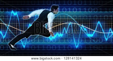 Successful Business with Senior Man and Graph Background 3D Illustration Render