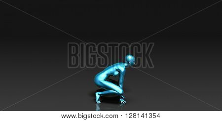 Yoga Class, the Crouch Basic Pose Stance 3D Illustration Render