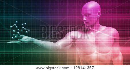 Molecule Background of an Atom or DNA Particle 3D Illustration Render