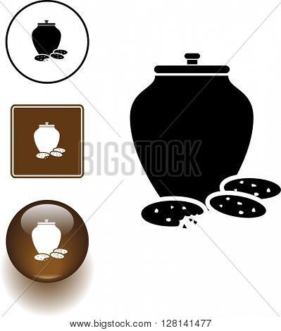 cookie jar symbol sign and button
