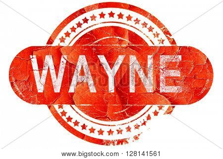 wayne, vintage old stamp with rough lines and edges