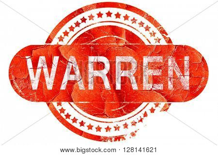 warren, vintage old stamp with rough lines and edges