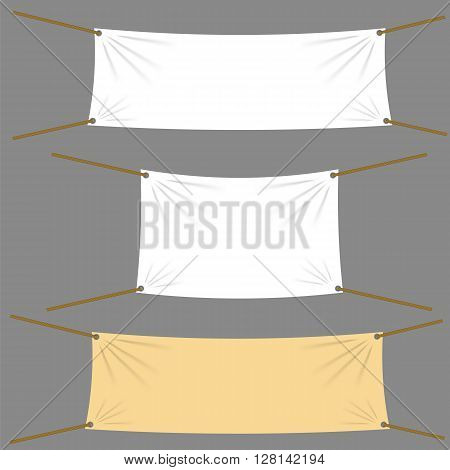 Textile Banners with Copy Space Suspended by Ropes by all Four Corners and Stretched Tight Hanging. White Vinyl Banner is Waving. Various Empty Promotional Banners.