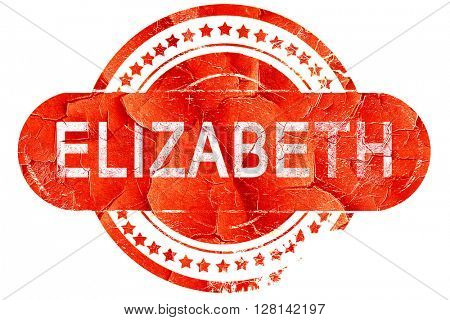 elizabeth, vintage old stamp with rough lines and edges