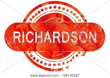 richardson, vintage old stamp with rough lines and edges