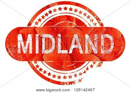 midland, vintage old stamp with rough lines and edges
