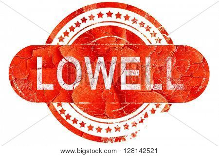 lowell, vintage old stamp with rough lines and edges
