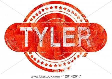 tyler, vintage old stamp with rough lines and edges