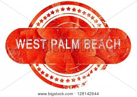 west palm beach, vintage old stamp with rough lines and edges